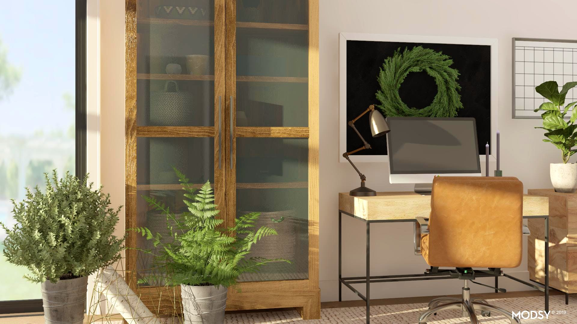 Green, Rustic, And Functional Office Design