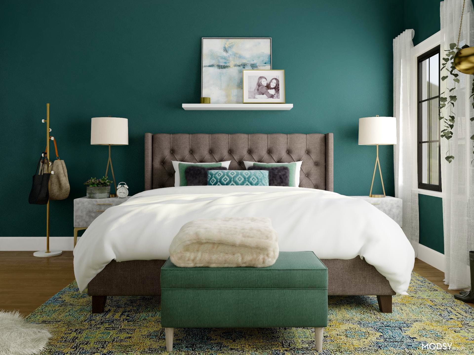 Green Glam Bedroom