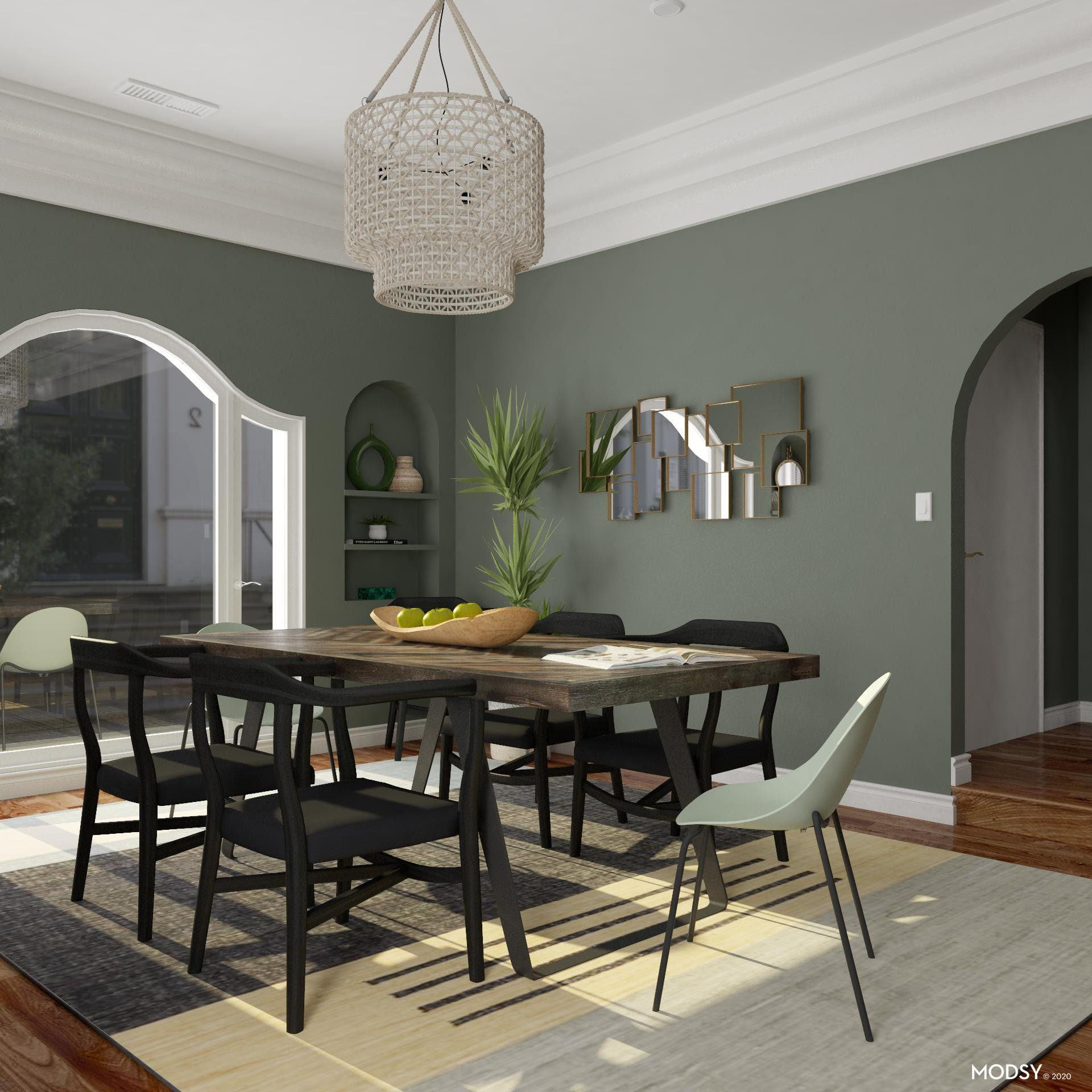 Eclectic Dining Room With Green Hues