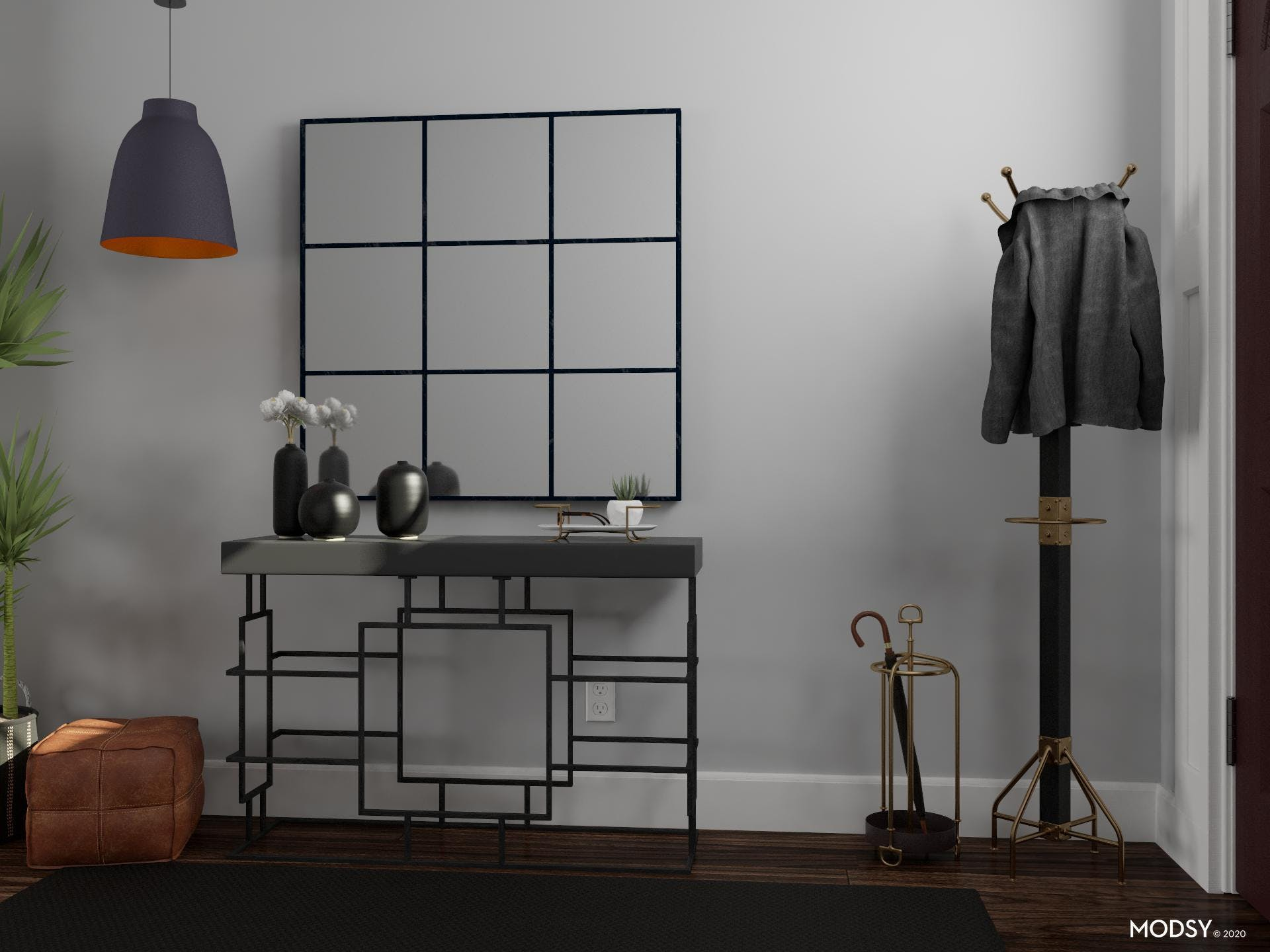 Black Vase and Comfort Seating in Industrial Entry