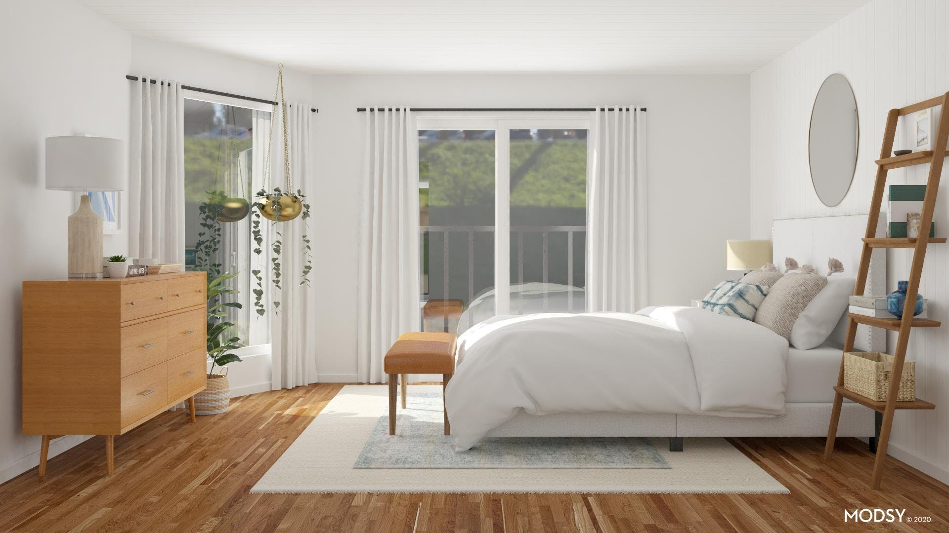 Mid-Century-Modern Bedroom Filled with Honey Hues