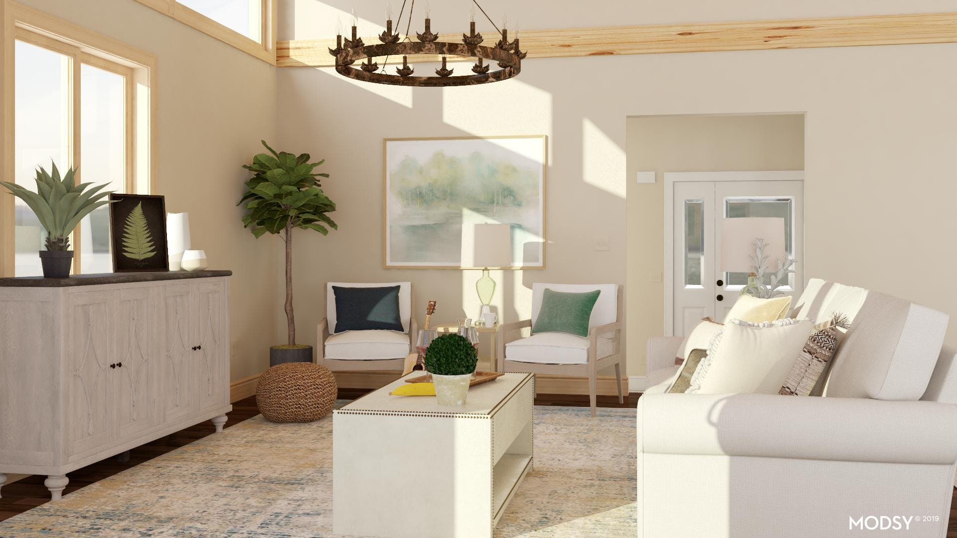 Neutral Living Room: Earth Tone Accents