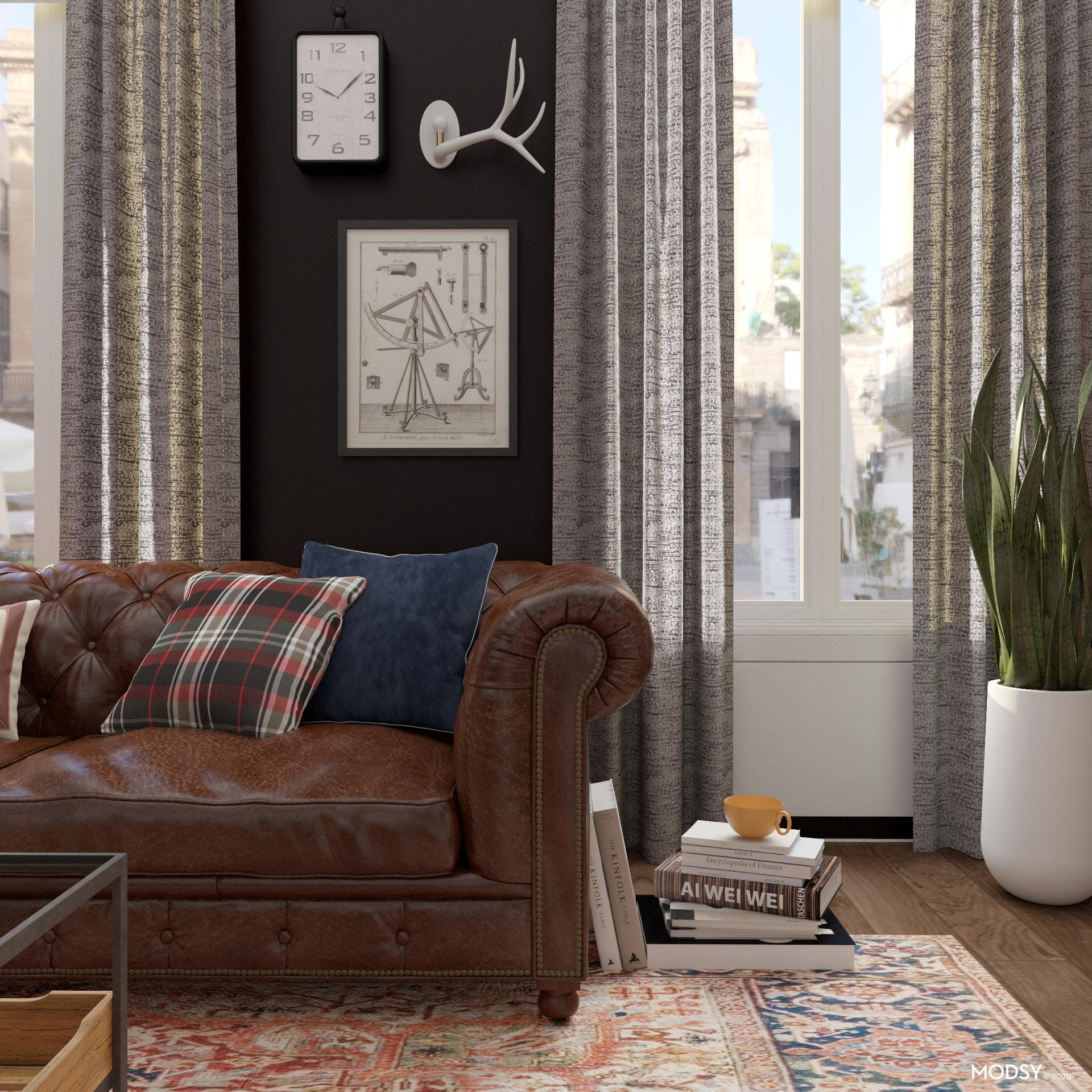Bold Industrial Americana Inspired Living Room tableau