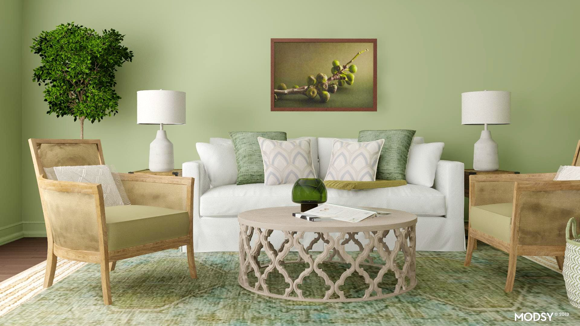 A Monochrome Green Living Room | Traditional/Classic-Style ...