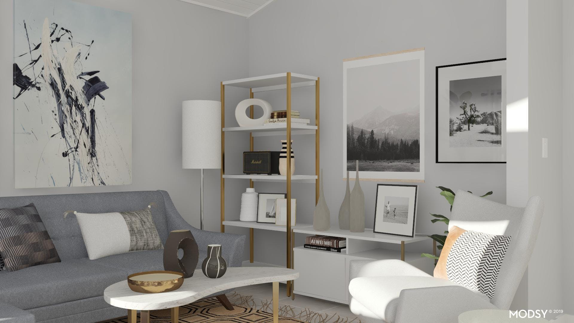 Monochrome Living Room With Modern Touches