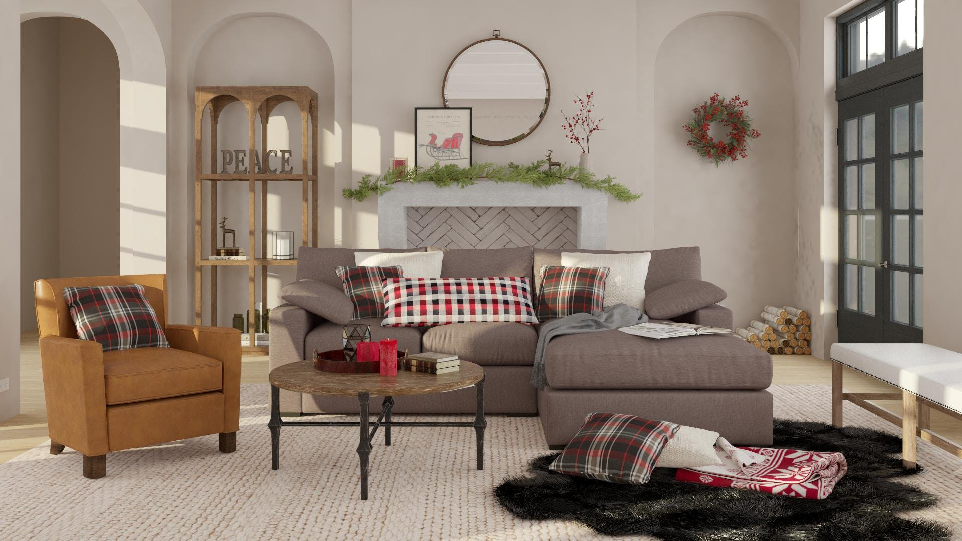A Traditional and Warm Holiday Living Room