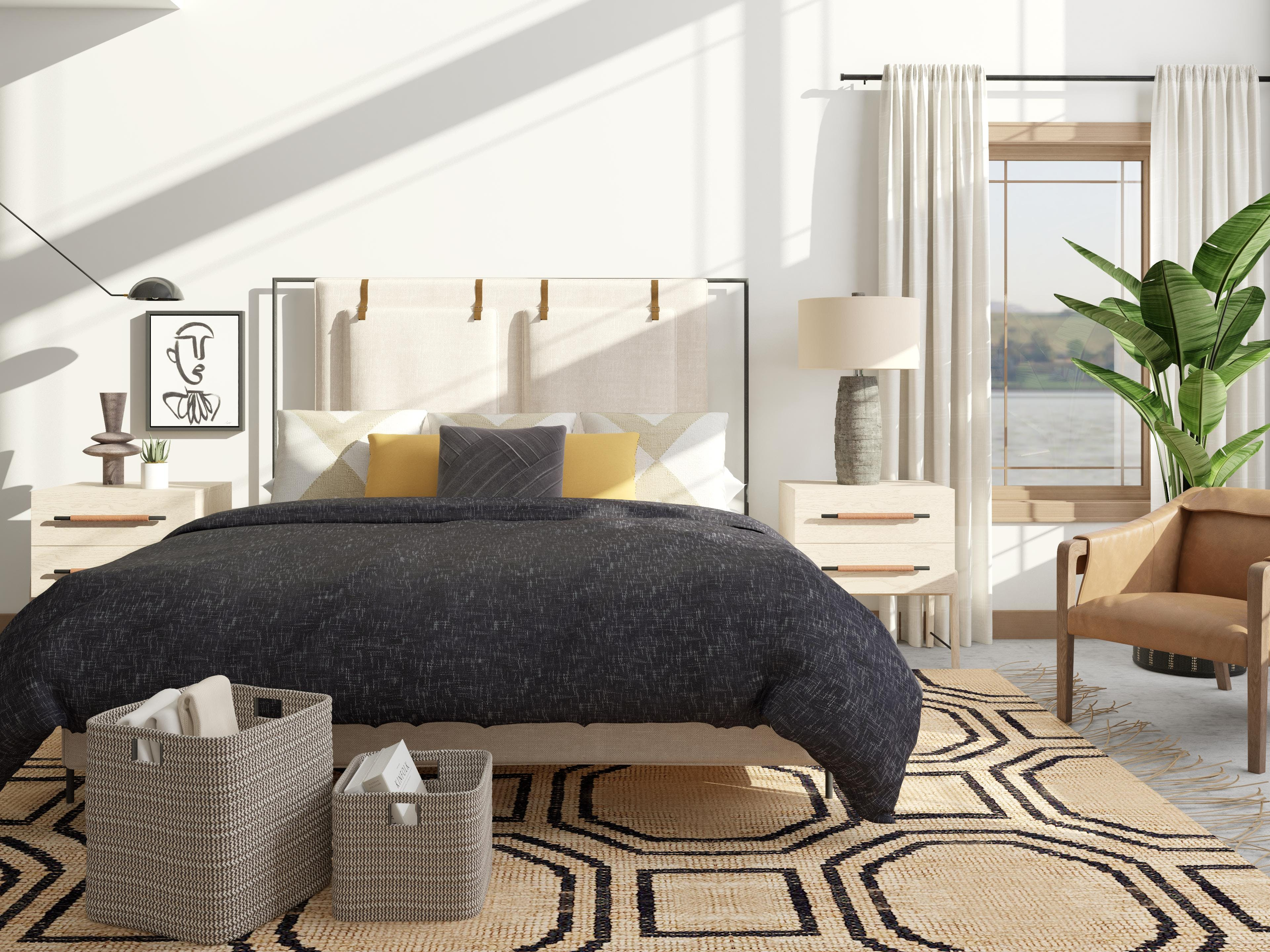 Bold Geometric Pattern Play in this Dreamy Bedroom