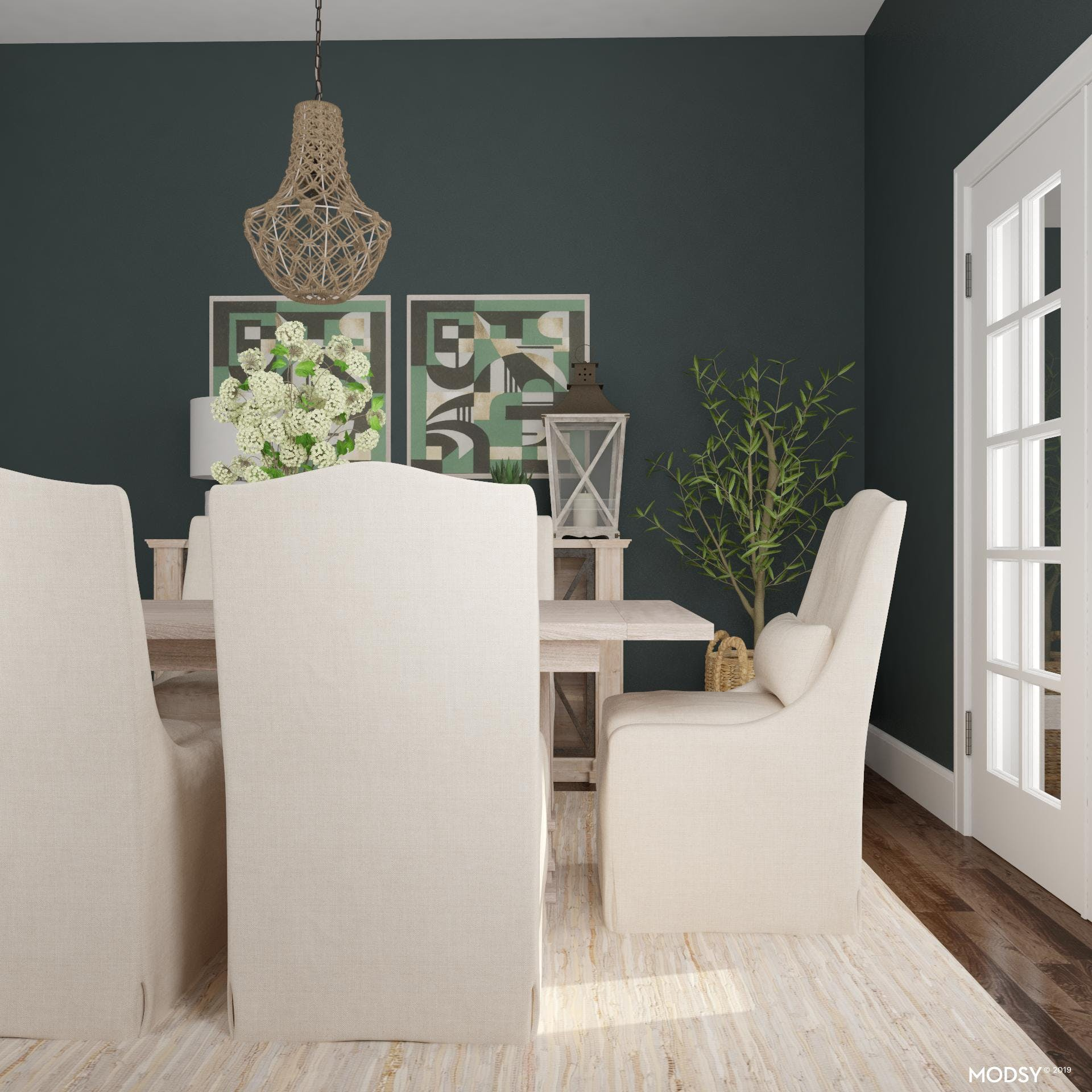 Traditional Green Dining Room Styling