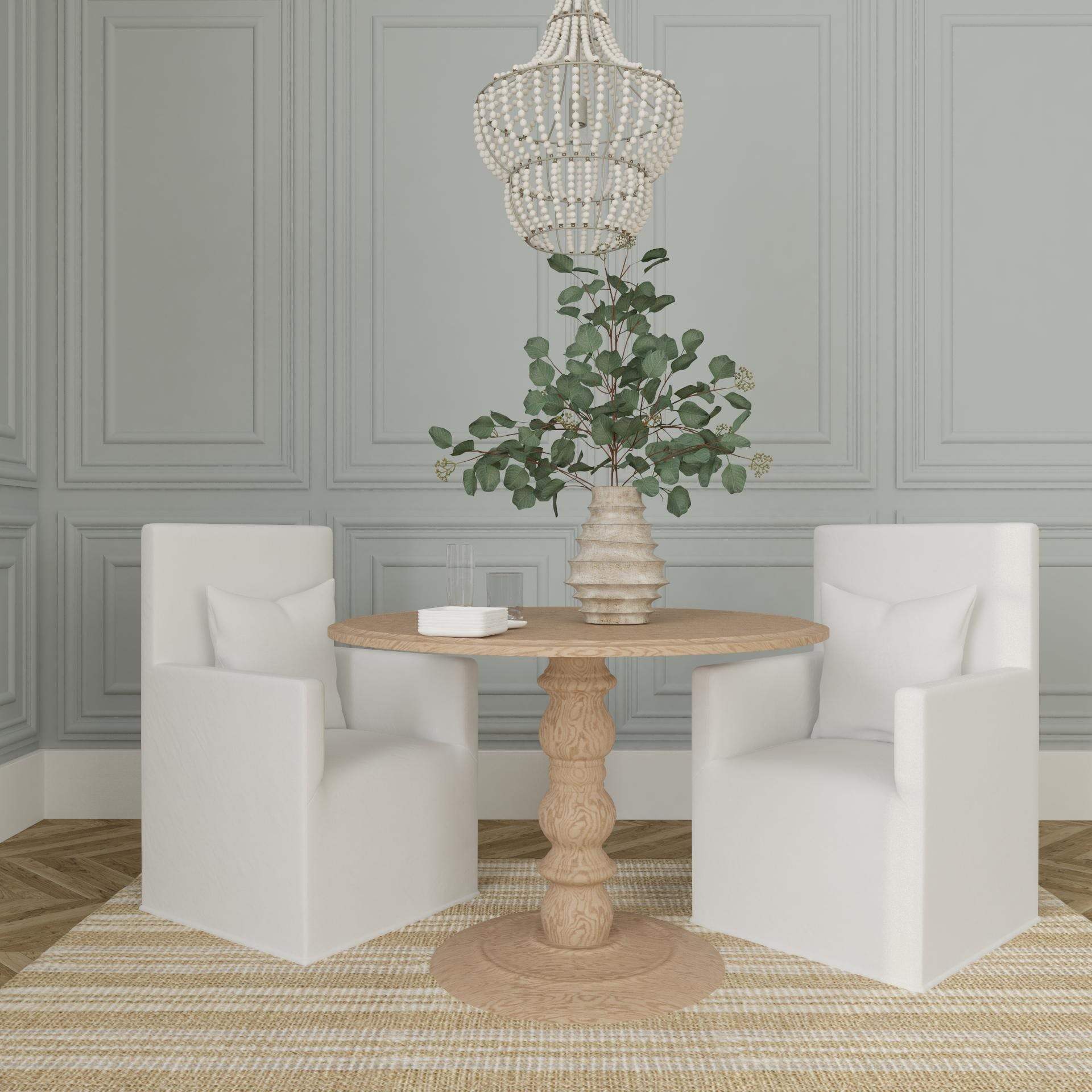 Traditional Style Dining with Warm Natural Tones