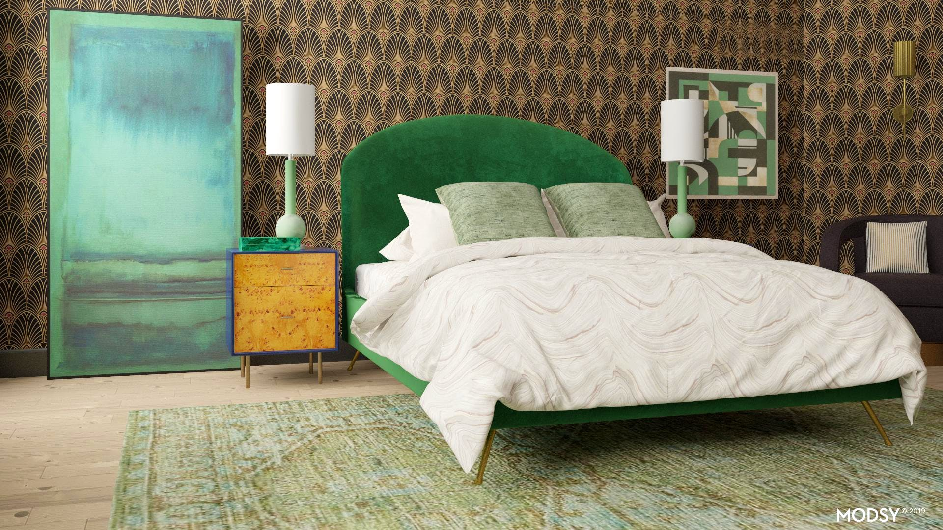 Green with Envy Art Deco Bedroom | Glam-Style Bedroom Design ...