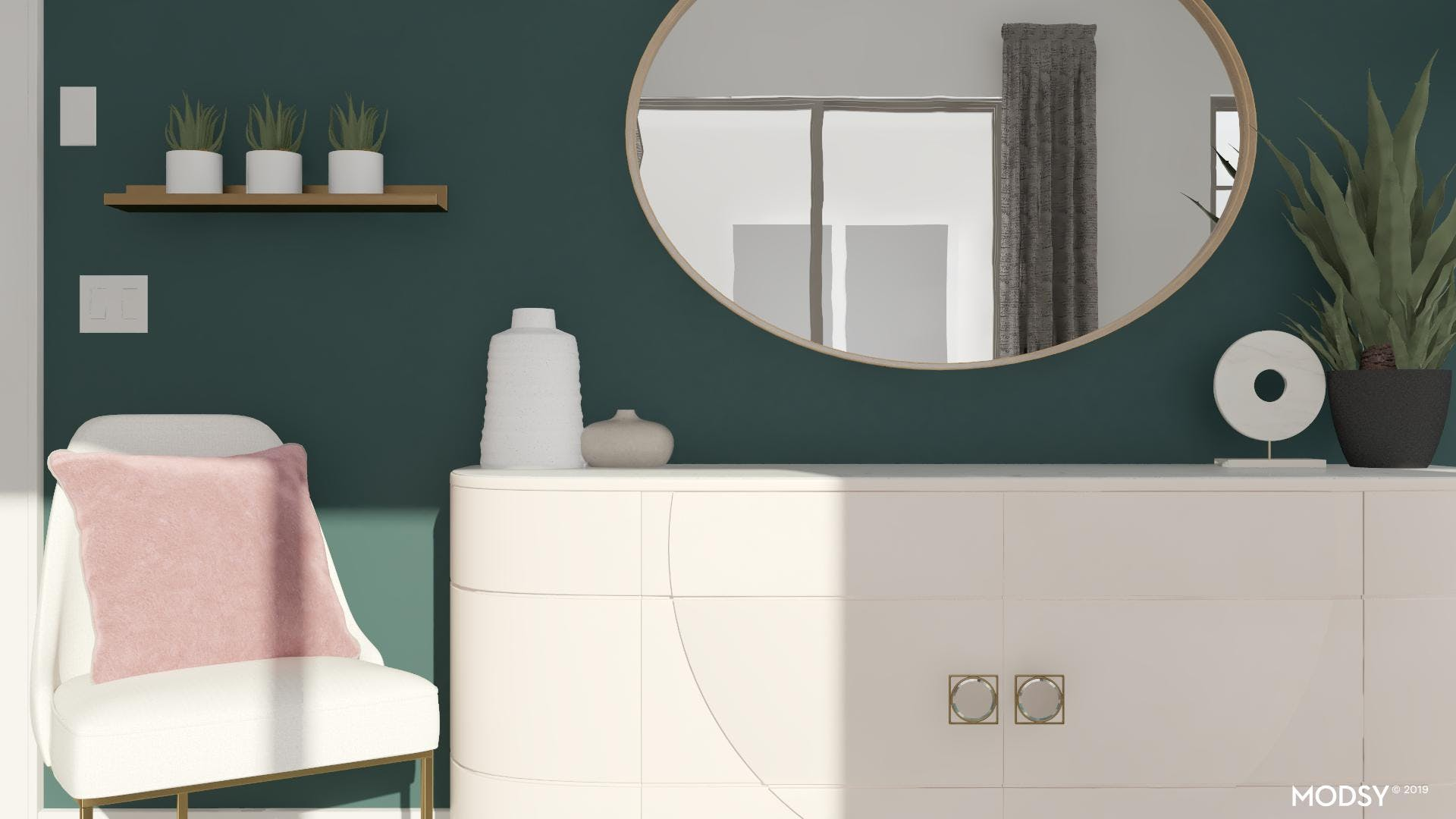 Blush Meets Emerald Green In Modern Entry