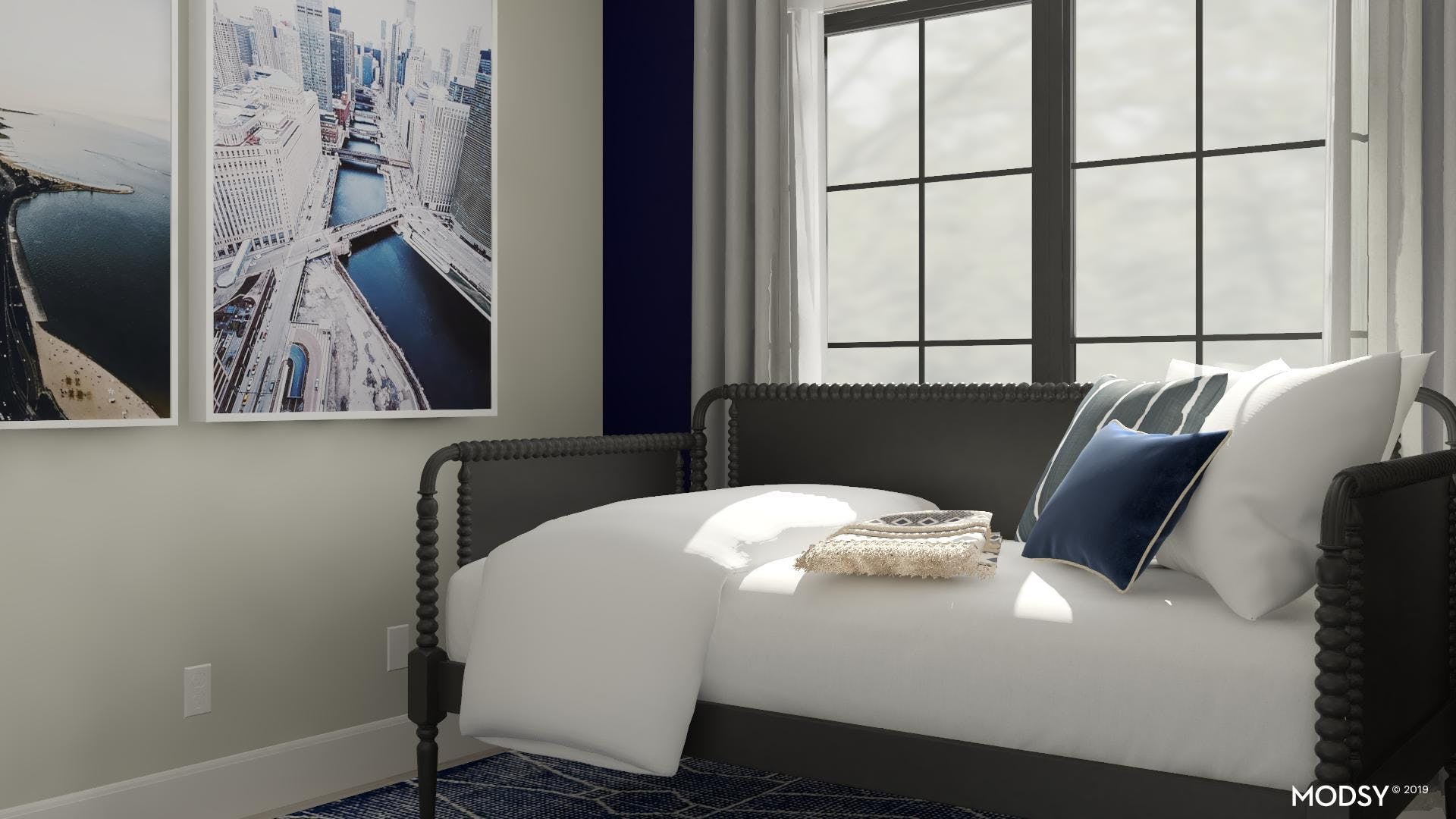 Cityscapes in a Guest Bedroom