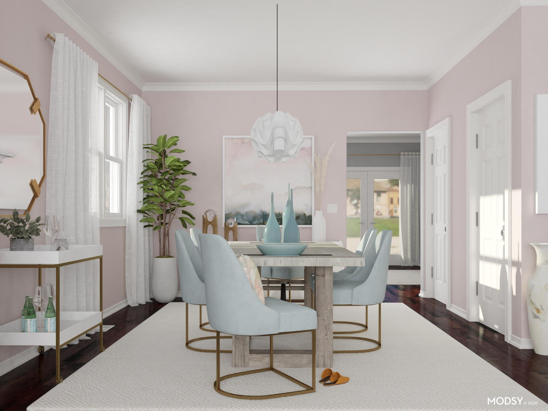 Pastels in A Contemporary Dining Room