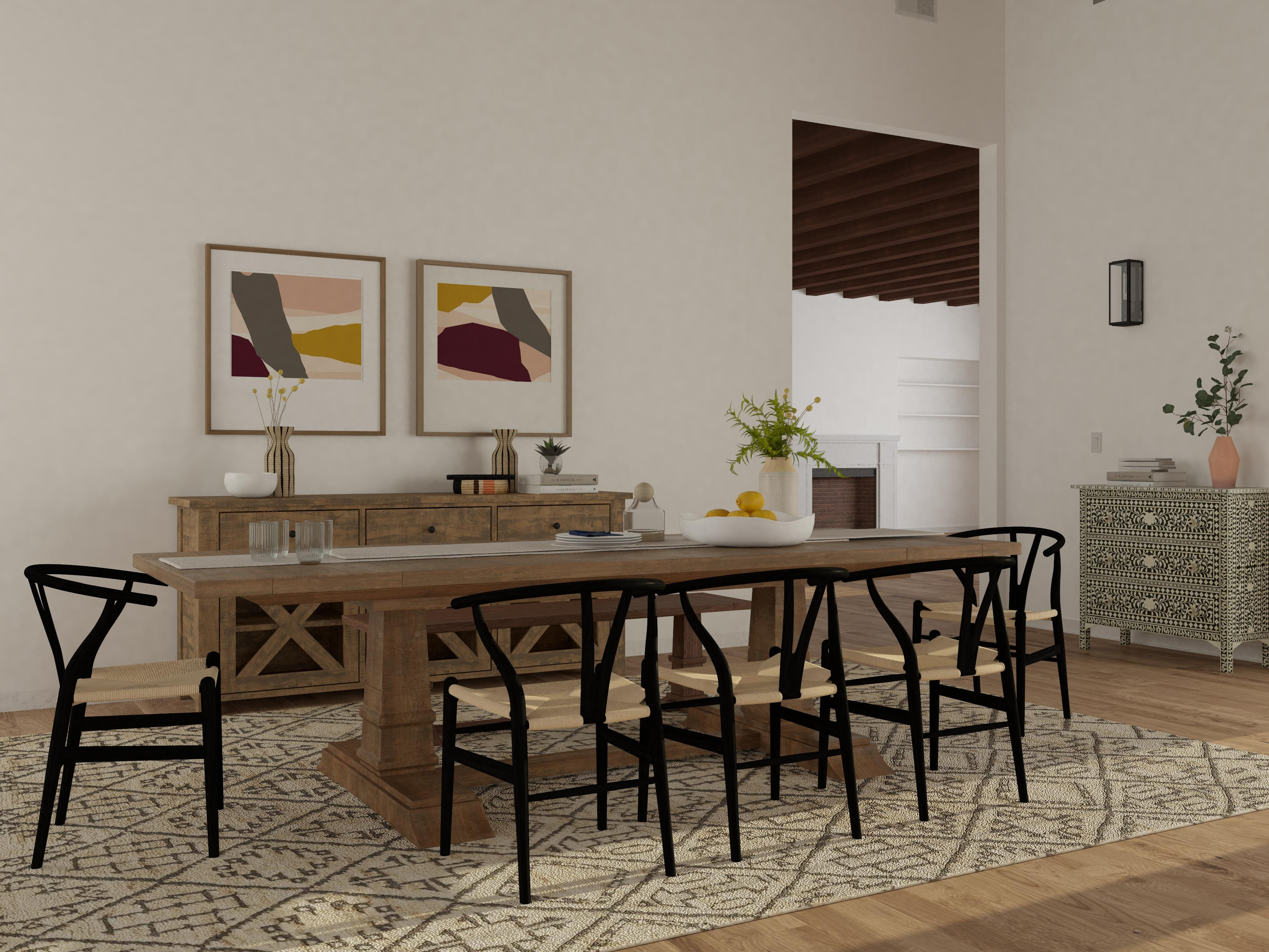 High Contrast Dining Room Brings Calm
