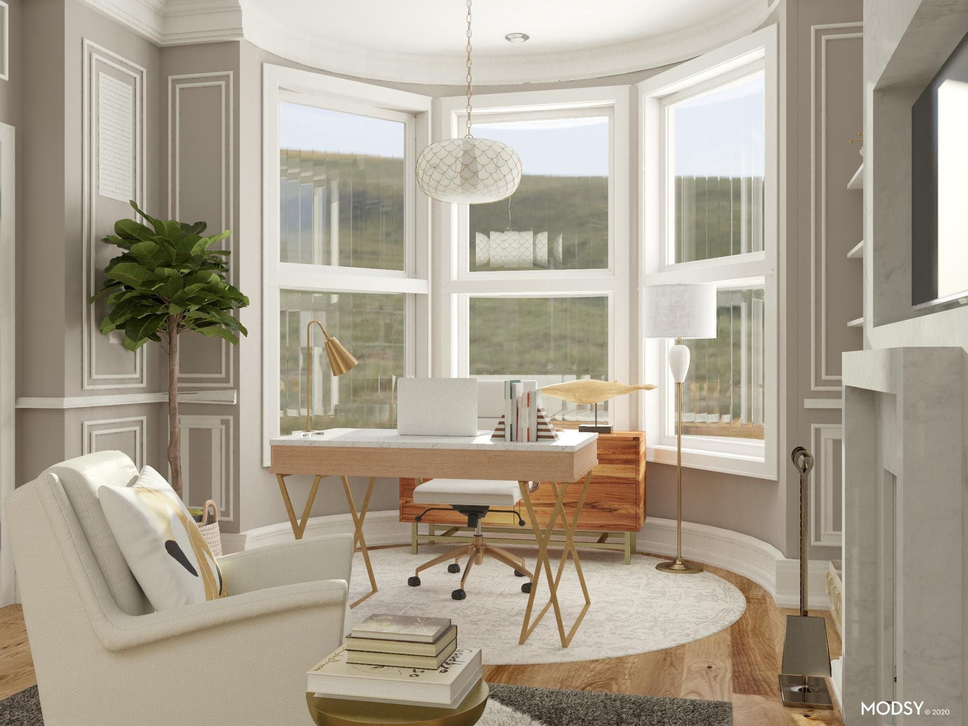 Muted Colors: A Glamorous Home Office