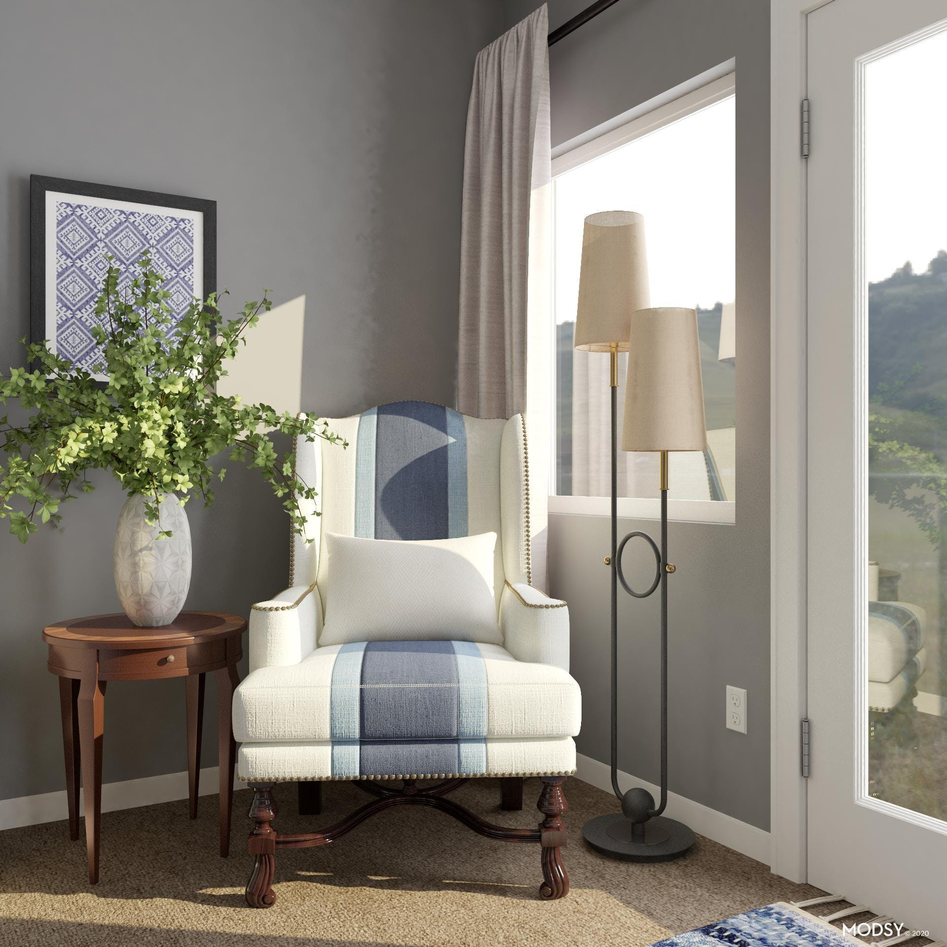 Classic Reading Nook In Traditional Style Bedroom
