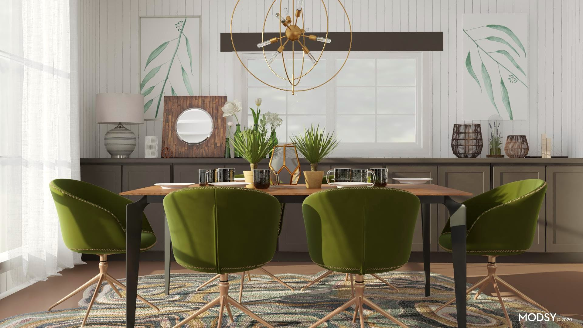 Green And Moody Mid-Century Dining