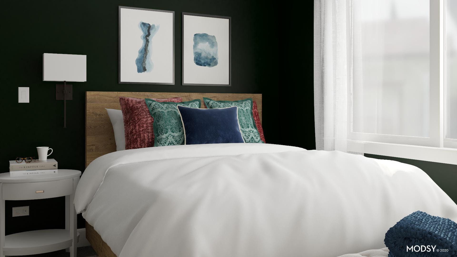 A Touch of White in a Jewel Toned Bedroom