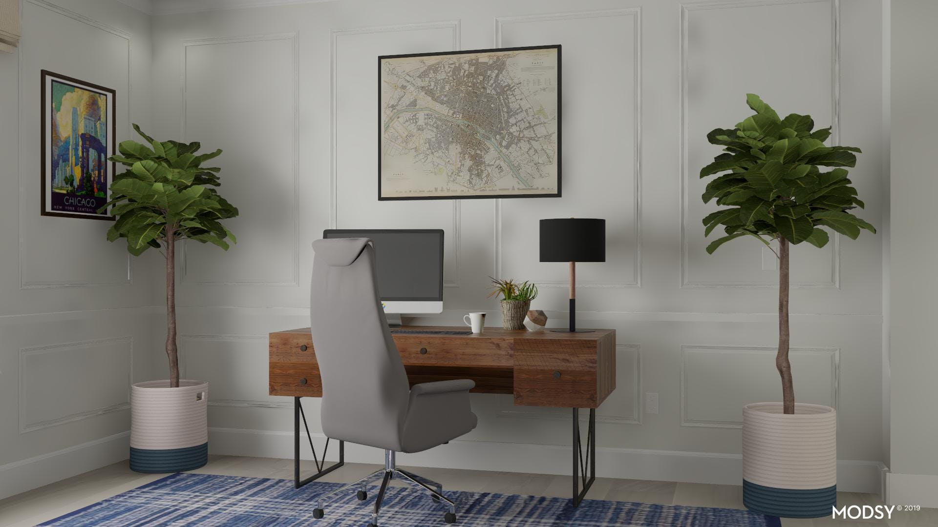 Blue Home Office With Wood Accents