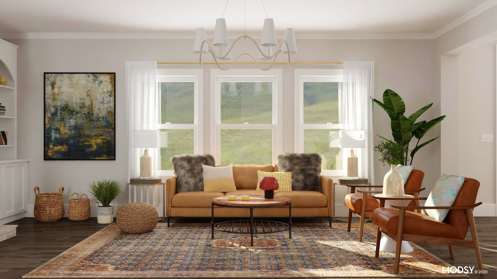 Earth Tone Eclectic Living Room