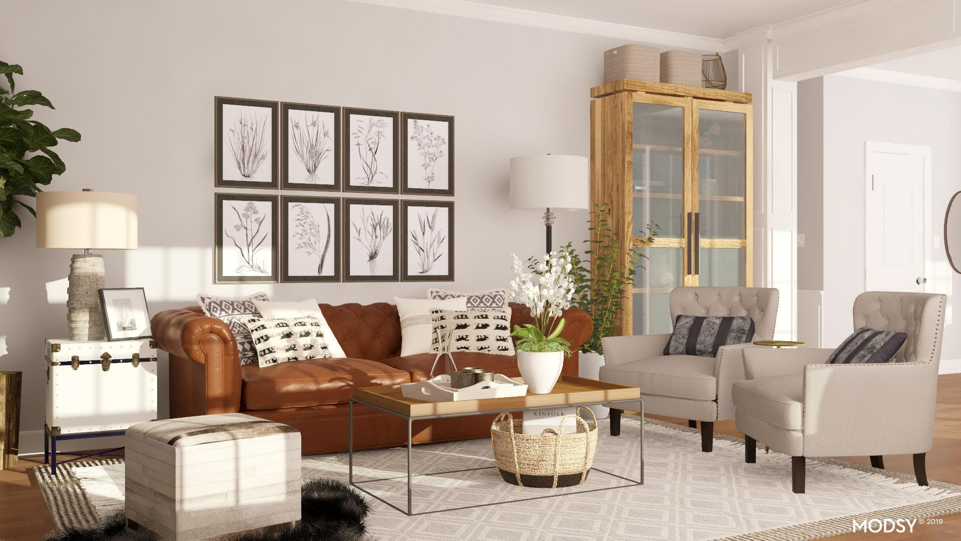 Leather Sofas In A Rustic Living Room