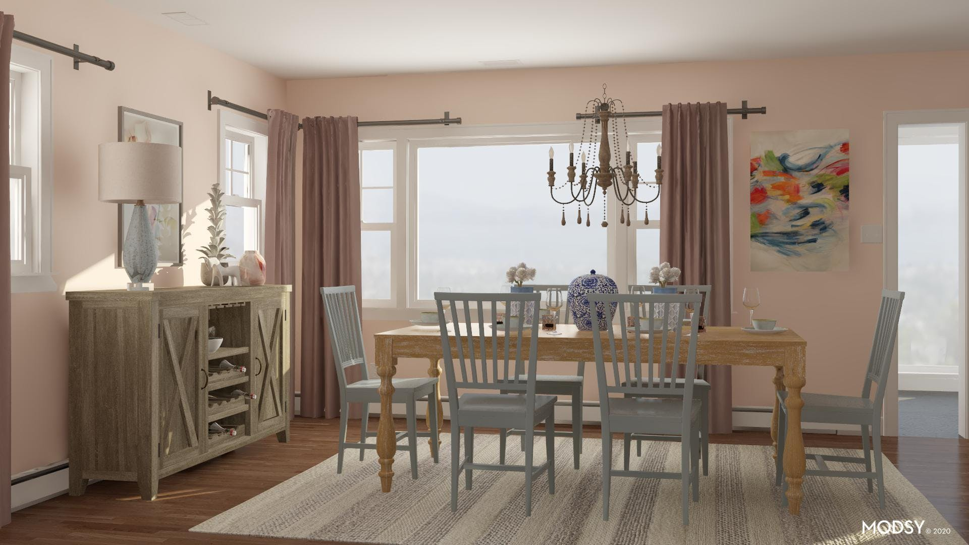 Pretty Pastel Traditional Dining