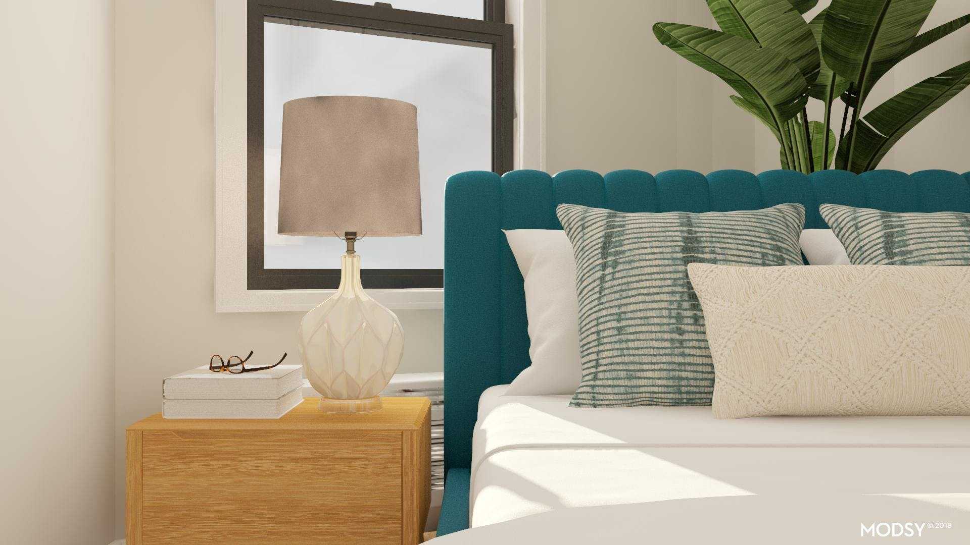 Mid-Century Bed with a Glam Touch