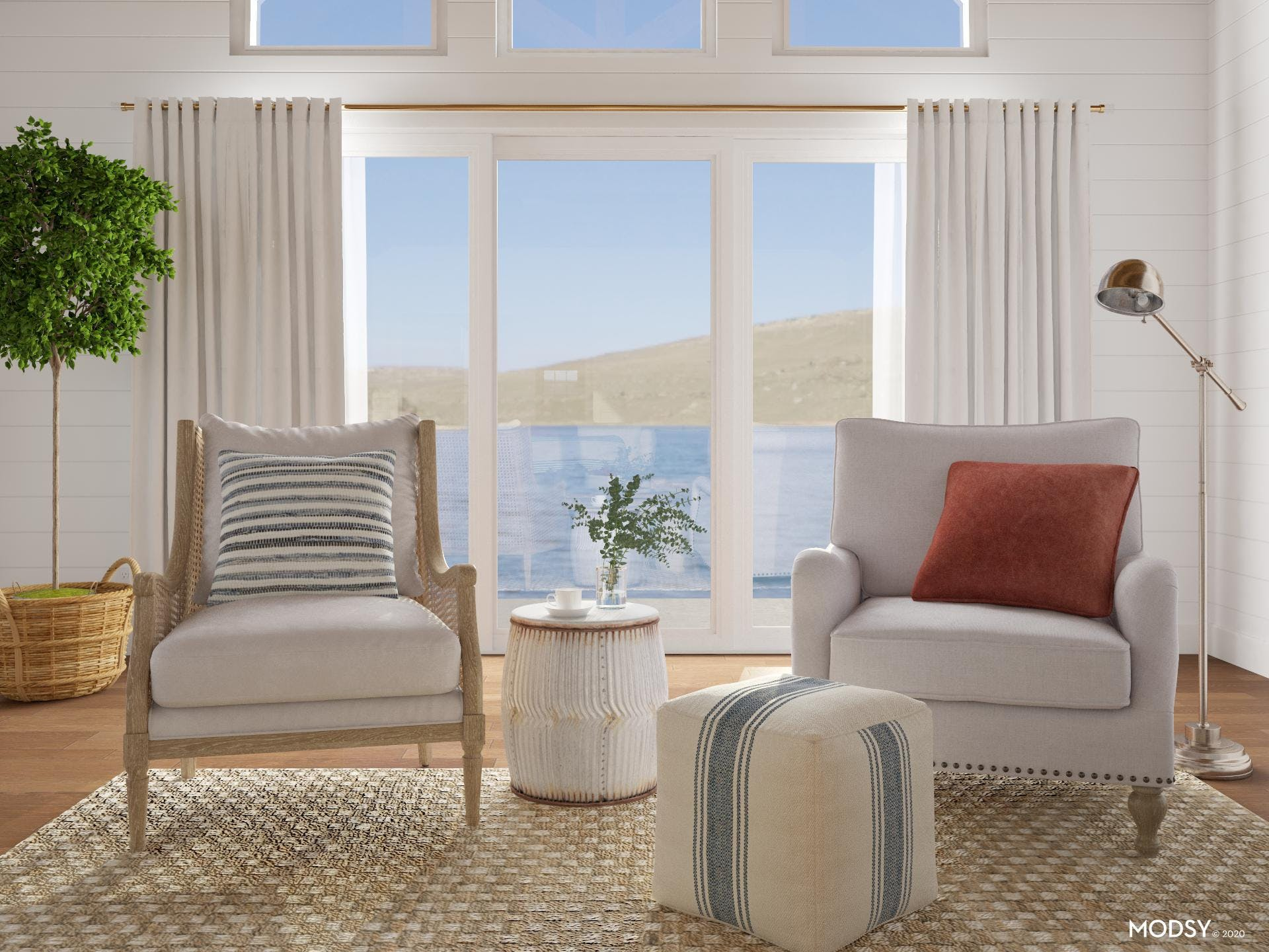 Stately Americana  Inspired Conversational Area With Coastal Flair