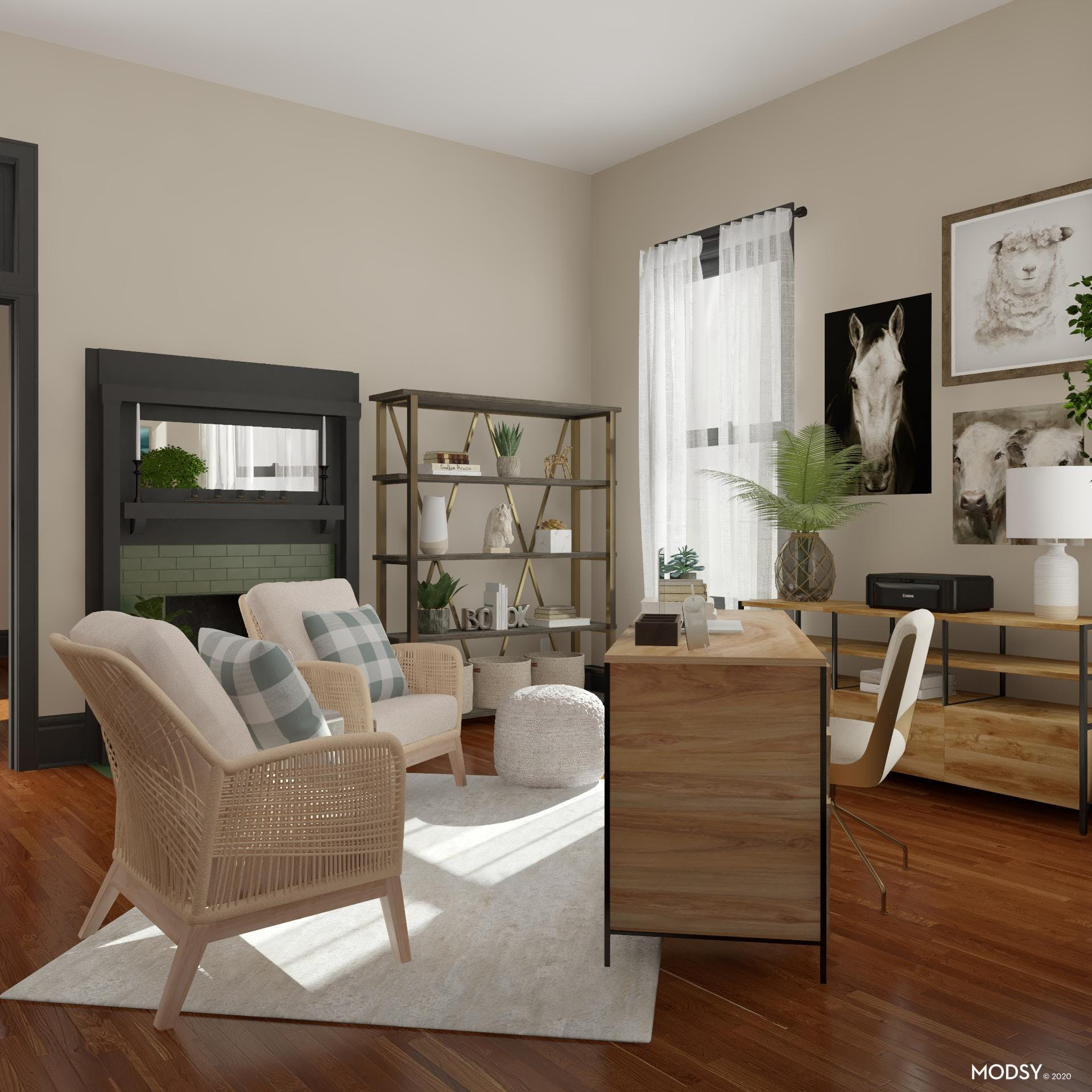Neutral Rustic Office