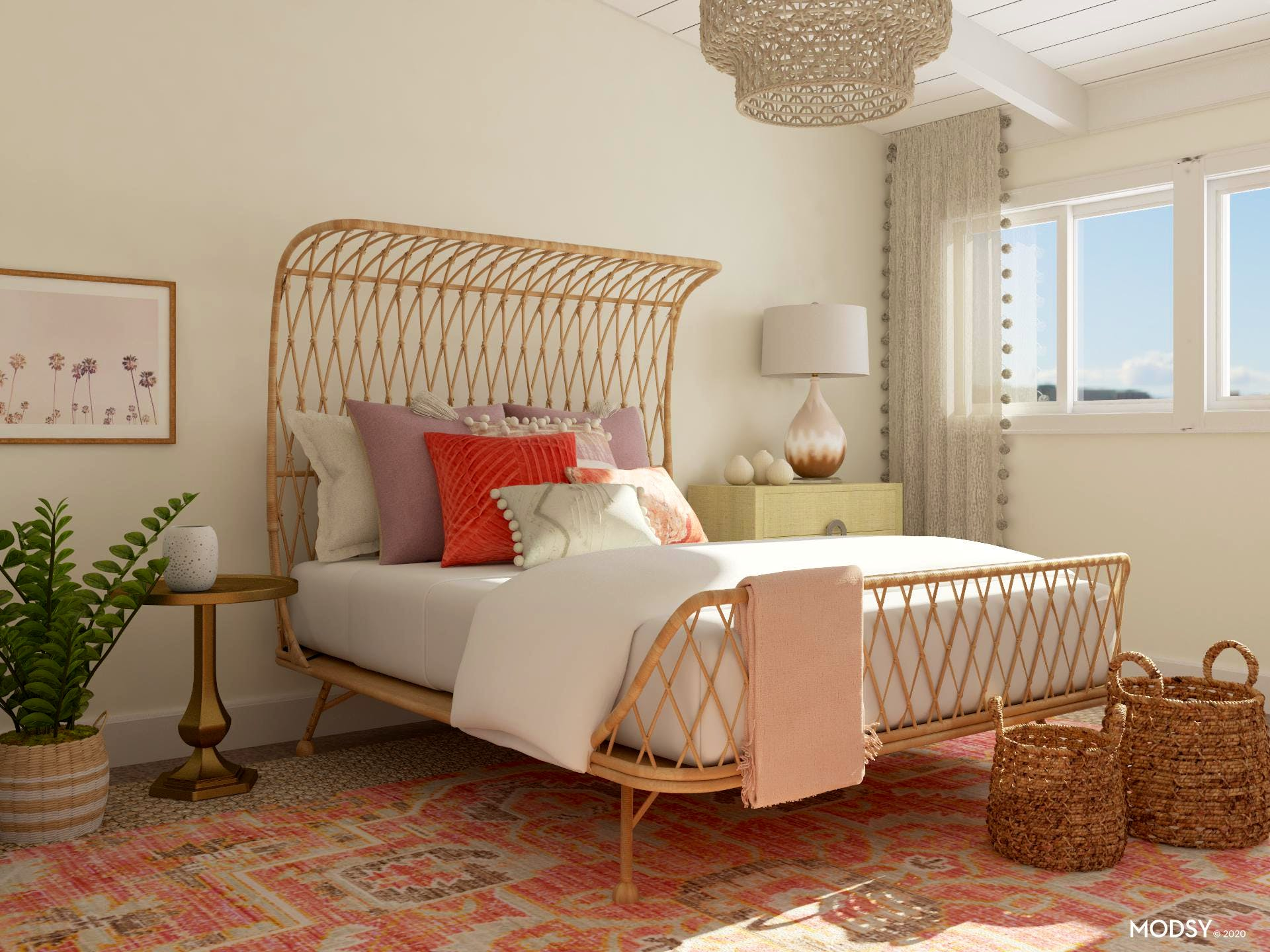 Delightful Boho Bedroom in Soft Pink Hues