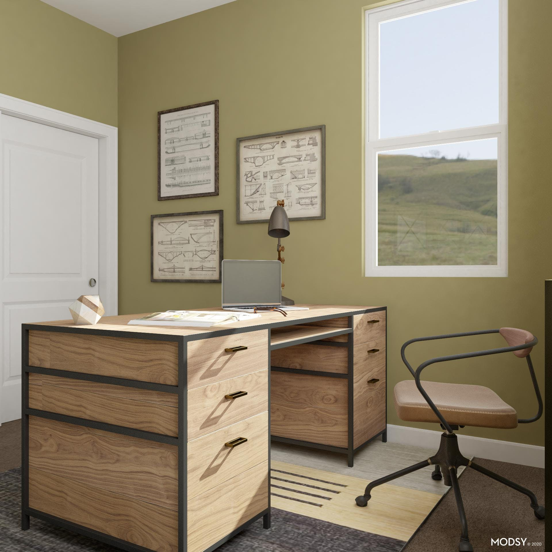 Earth-Toned Office