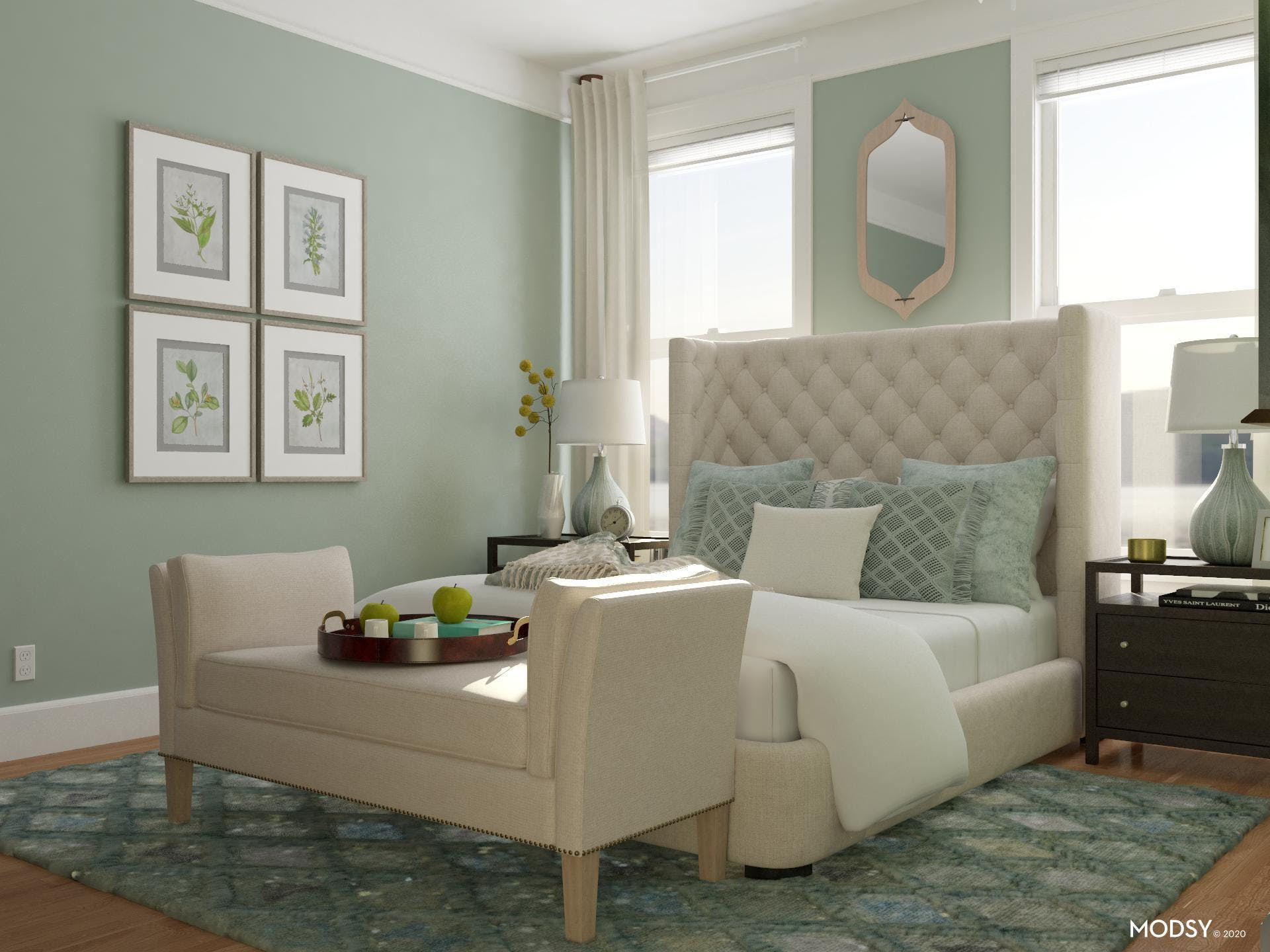 Green toned transitional bedroom