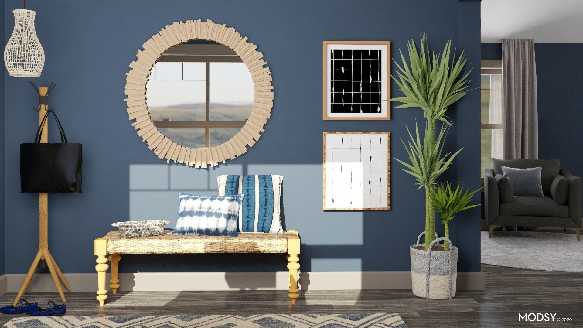 Blue Eclectic Entryway