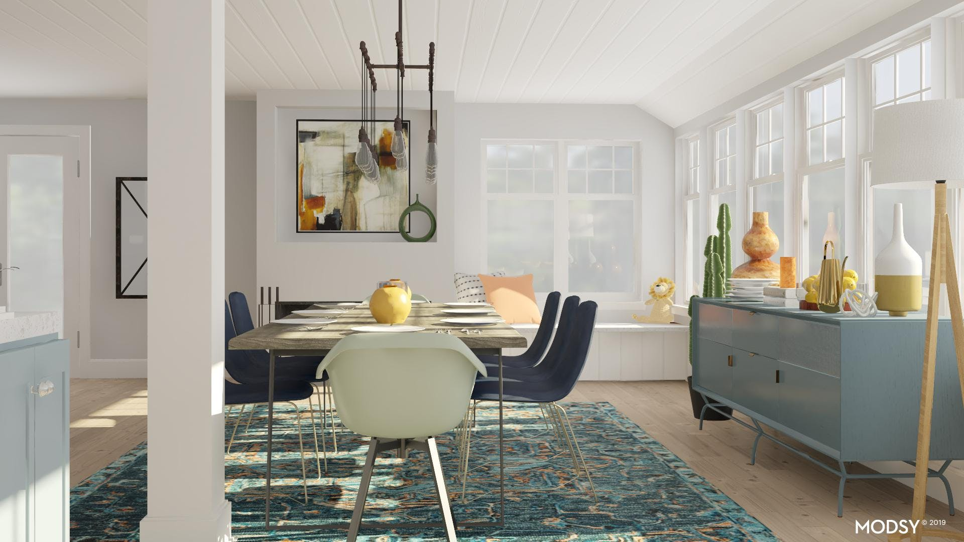 Bright Multi-Colored Industrial Dining Room