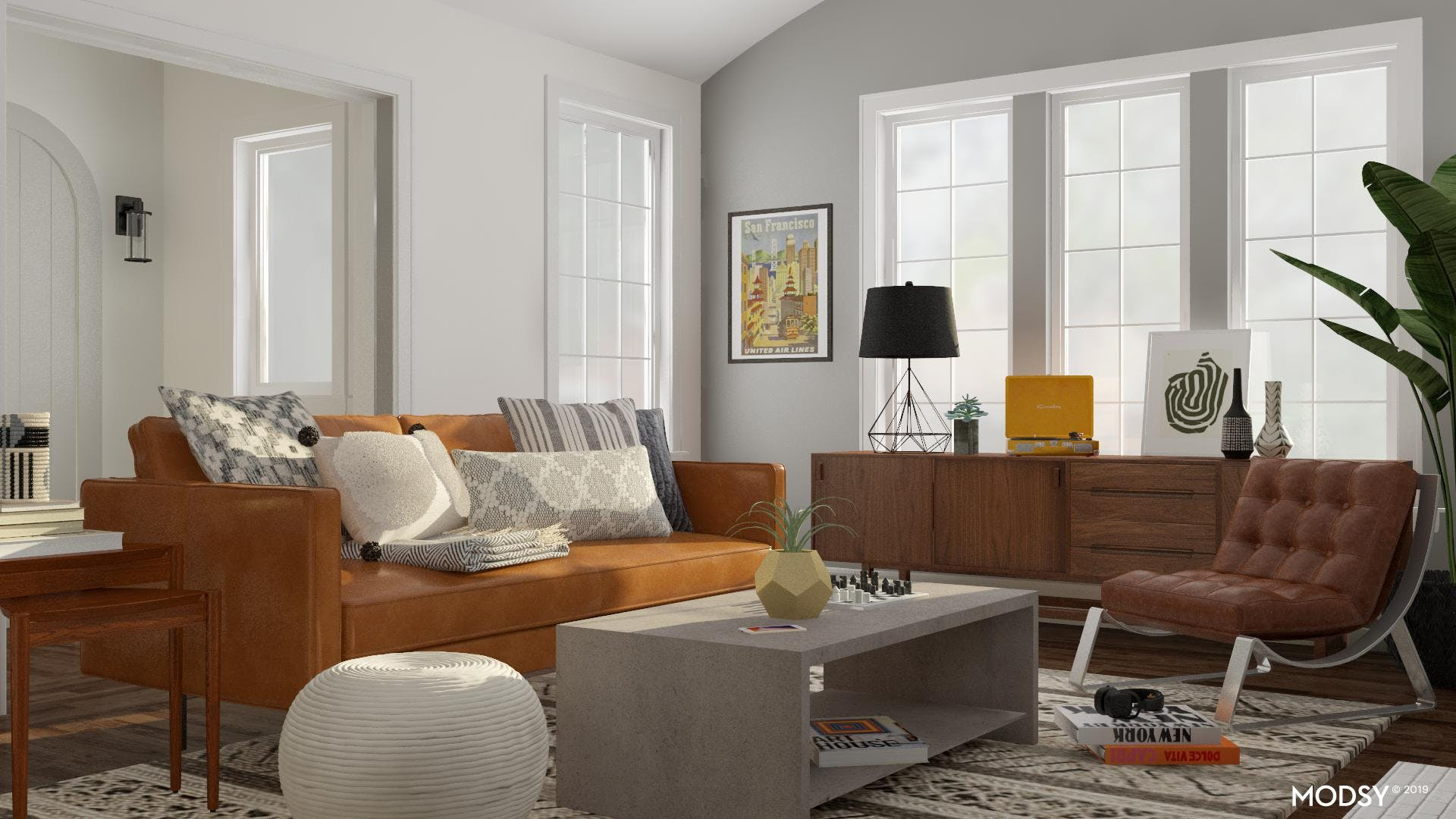 Cool And Collected Mod Living Room