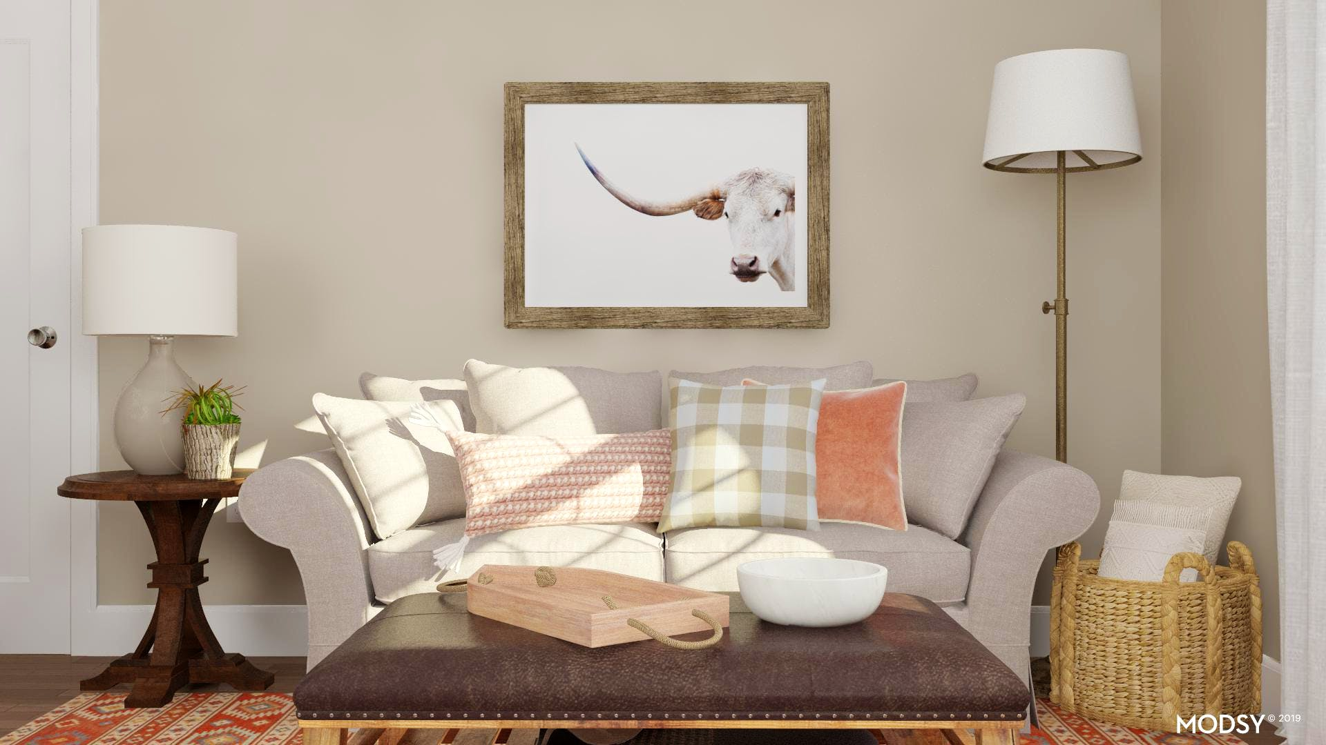 Shades of Pink Soften A Western Living Room