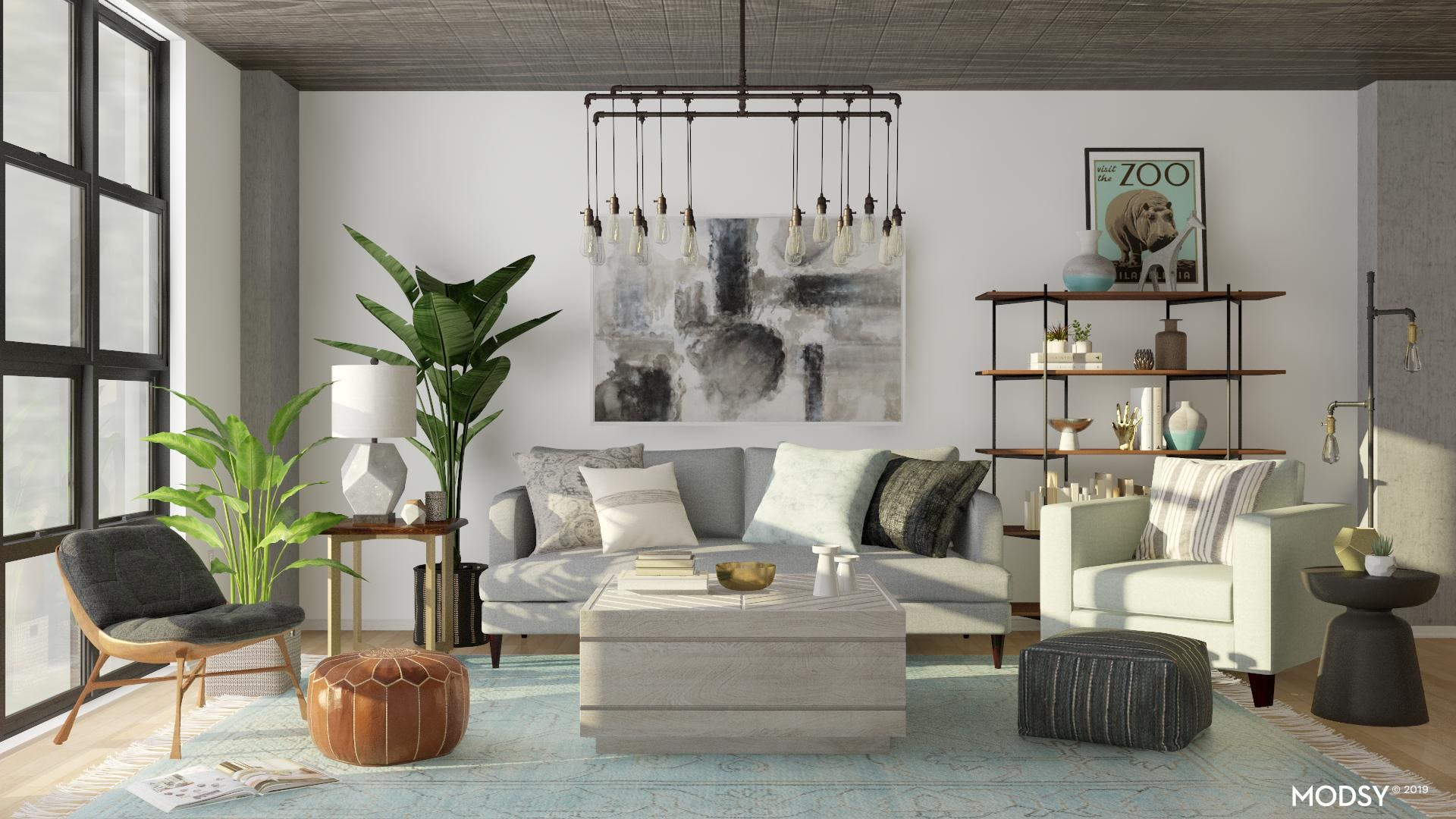 Contemporary Living Room With Industrial Edge